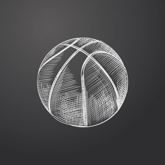 Hand Drawn Basketball Ball Sketch Symbol isolated on chalkboard. Vector Sport  Element In Trendy Style