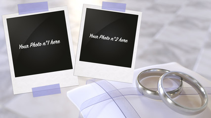 Two frames taping up two silver wedding rings laying on a small white satin cushion 3d rendering