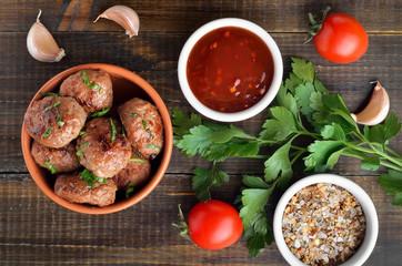Fried meatballs in bowl