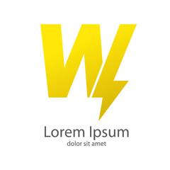 Logotipo letra W estilo rayo color amarillo