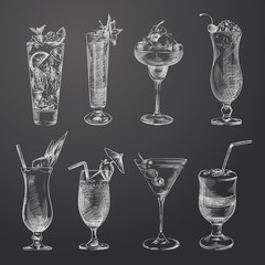 Hand Drawn Cocktail Sketches Set. Collection Of Cocktails And Other Sketch Elements isolated on chalkboard