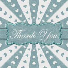 Thank You message with teal hearts with red and white burst lines