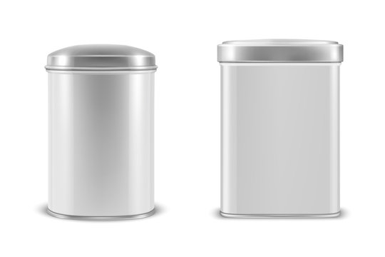 Vector realistic 3d white blank metal aluminium tin can containers with silver cap rectangular or square, oval shape icon set closeup isolated on white background. Design template for graphics