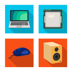 Vector illustration of laptop and device sign. Set of laptop and server stock symbol for web.