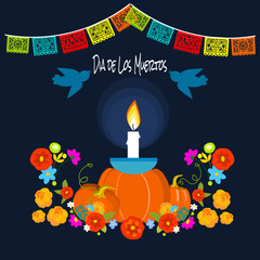 Mexican Dia de los Muertos (Day of the Dead) candle with pumpkins, greeting card, vector illustration.