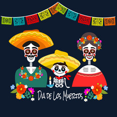 Mexican Dia de los Muertos (Day of the Dead) skeleton family, greeting card, vector illustration.
