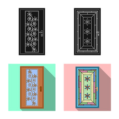 Isolated object of door and front logo. Set of door and wooden stock vector illustration.