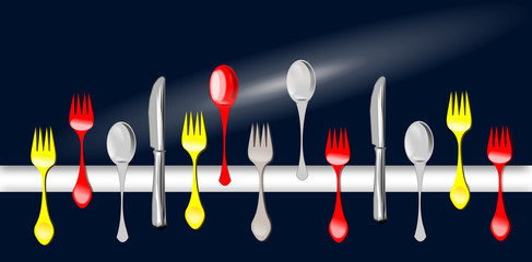 Cucchiaio, forchetta, coltello. Progetto grafico.