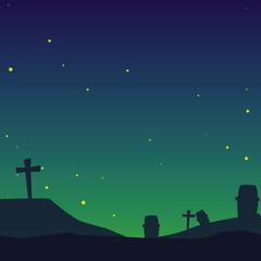 cemetery on night scene
