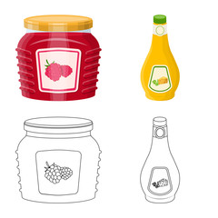 Vector illustration of can and food sign. Collection of can and package vector icon for stock.