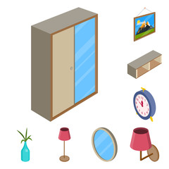Vector illustration of bedroom and room symbol. Set of bedroom and furniture vector icon for stock.