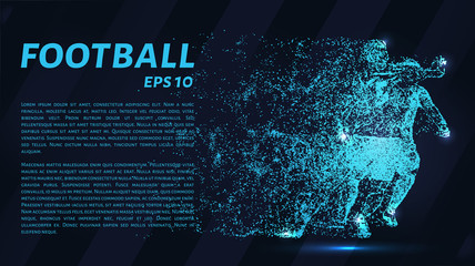 Football of particles on a dark background. Football players consists of geometric shapes. Vector illustration.