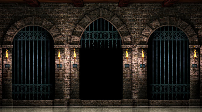 Arches and open iron gate