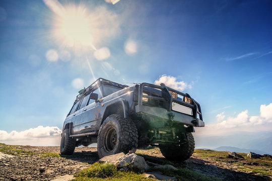 Jeep car adventure on top of Mountain Petros in the Ukrainian Carpathians