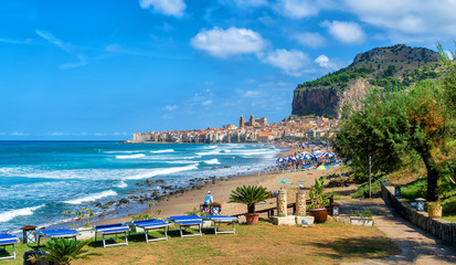 Wall Mural - Landscape with beach and medieval Cefalu town on Sicily island, Italy