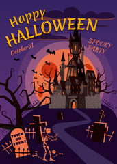 Happy Halloween pumpkin in the cemetery, an abandoned black castle, a full moon dark night, crosses and tombstones. Vector, isolated, holiday greeting card, poster, banner, cartoon style