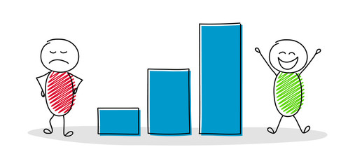 Business pictogram with cartoon stickmen showing column graph. Vector.
