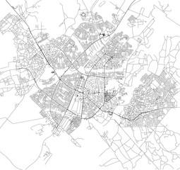 Mappa satellitare di Gaborone, Botswana, strade della città. Stradario e mappa del centro città
