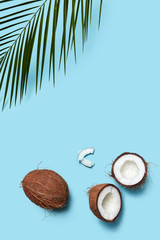 A beautiful composition of organic halves and a whole coconut on a blue background decorated with a plaque sheet with a copy of the space. Flat lay
