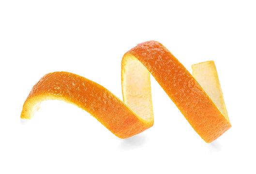 Fresh orange skin isolated on a white background