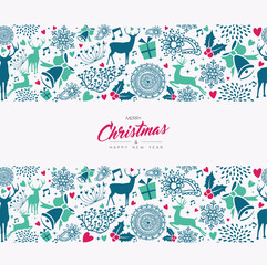 Christmas and New Year holiday pattern card