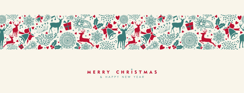 Christmas and New Year vintage deer banner