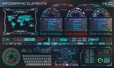 HUD UI, Futuristic User Interface HUD and Infographic Elements. Abstract Virtual Graphic Template