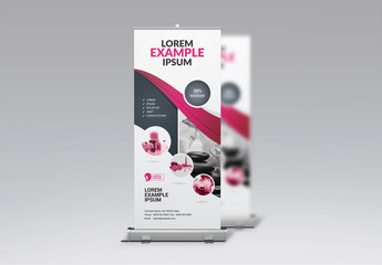 Banner Advertisement Layout for Beauty Salon with Pink Ribbon Design