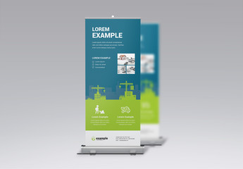 Banner Advertisement Layout with Construction Illustration