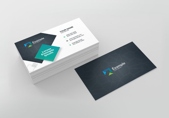 Black and White Business Card Layout with Teal Accents