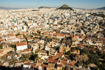 Athens, view toward lycabettus from ancient acropolis
