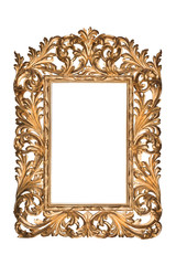 Antique Carved gilded frame for painting, photo, mirrors on a white background. Isolate.