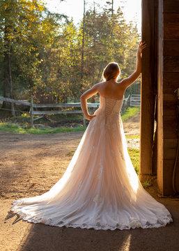 Back of bride leaning against barn