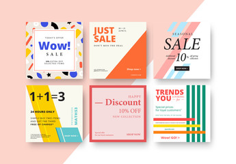 Square Sale Banner Layout Set