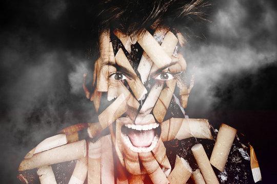 Cancer tabac cigarette colère homme portrait