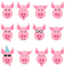 Heads of Cool Funny Pig Emoticon Characters, Funny, Cool, Angry, Sad. Collection Avatars