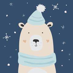 Polar bear is enjoying the snow, vector Christmas card