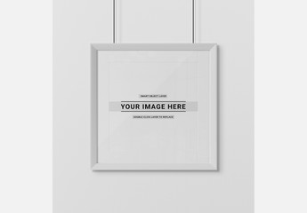 Square Frame Isolated on Wall Mockup