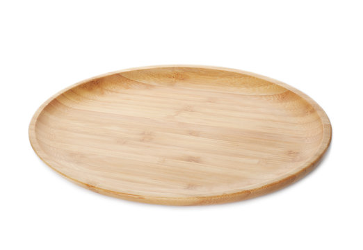 Plate made of bamboo on white background