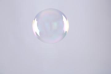 Beautiful translucent soap bubble on grey background