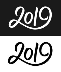 Happy New Year 2019 greeting card template. Calligraphic number with smooth contour isolated on black and white backgrounds. Vector illustration.