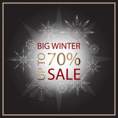 Sale banner template design. Sale poster of black Friday. Big winter sale discount. Graphic poster, geometric brochure, Christmas cards. sale inscription design elements. Vector