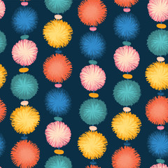 Decorative party pom poms seamless repeat vector pattern. Teal, blue, yellow, and red pom poms on dark background. Great for birthday, cards, invitations, packaging, digital paper, celebration, kids