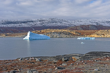 Foto op Plexiglas Poolcirkel Icebergs in a Quiet Lagoon in the Arctic
