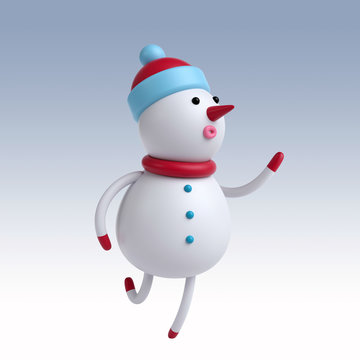 3d render, Christmas greeting card, cute cartoon snowman running, dancing, isolated on white background, holiday toy, digital illustration