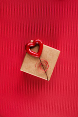 Craft gift box decorated with red heart