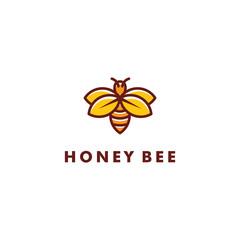 Bee logo design, Fresh honey icon symbol vector