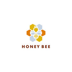 Bee logo design, Honey icon symbol vector