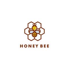 Bee logo design, Honey icon symbol vector