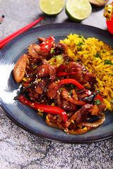 Oriental dish - rice with chicken